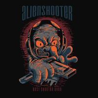Alien space alien tshirt design vector