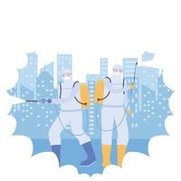 Disinfection concept with people in protective suits vector