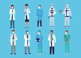Collection of doctors staff wearing medical masks vector