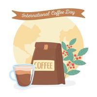 día internacional del café. paquete, taza y ramas vector