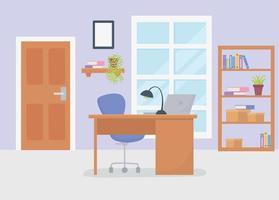 interior del espacio de trabajo de la oficina vector