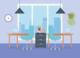 espacio de trabajo de oficina moderna vector