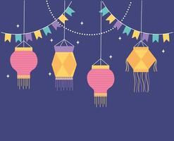 Fondo de linternas para la celebración del festival. vector