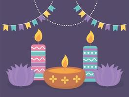 Candles, and lotus flowers for Diwali celebration vector