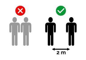 distancia social de dos metros vector