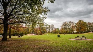hamburg openbare groene zone in de herfst dslr time-lapse