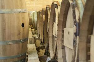Wooden wine barrels photo
