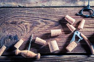 Corks from wine and opener