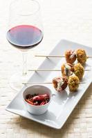 skewers and wineglass