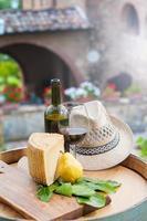 Red wine, pecorino cheese and pear, Italian snack photo