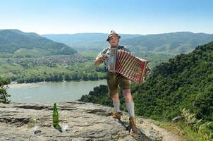Accordion player on the Danube