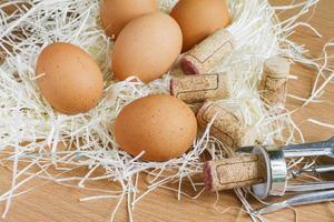 Eggs and corkscrew