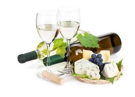 White wine, cheese and grape photo