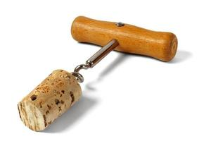 Corkscrew with cork photo