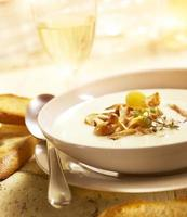 delicious mushroom soup with bread and wine photo
