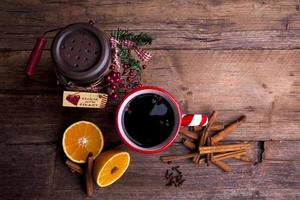 Mulled wine shot from above on a wooden background