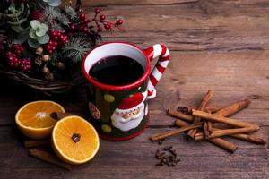 Mulled wine with Christmas decorations