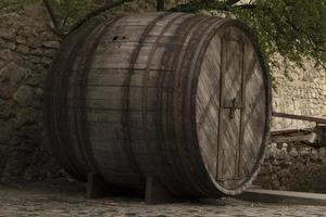 Big old wooden barrel photo