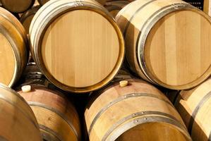 French oak barrels stacked at the winery photo