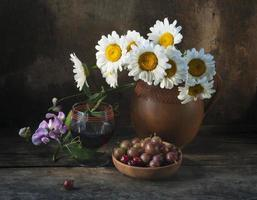 red wine and daisies