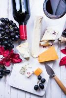 autumn snack selection with cheese and wine