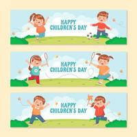 Groups of Children Playing Together on a Hill vector
