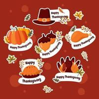 Thankgiving Stickers Collection vector