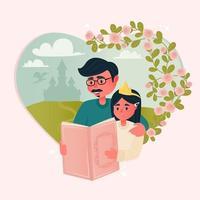 papá leyendo a su hija vector