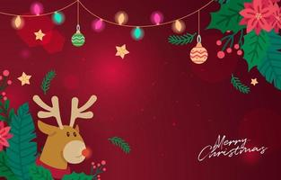 Christmass Background with Rudolph Hiding in The Bush vector