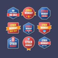 Various Red Blue Shapes of Cyber Monday Sale