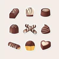 Yummy Variety of Chocolate Icon Collection vector