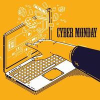 Diseño de Cyber Monday con la mano apuntando al portátil vector
