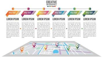 Infographic modern timeline with map system vector