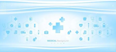 Blue Medical Background with Flat Icons and Symbols