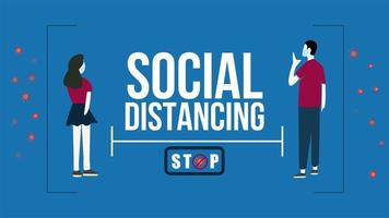 Covid-19 social distancing poster with masked couple
