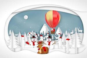 Christmas paper art Santa and snowman winter scene vector