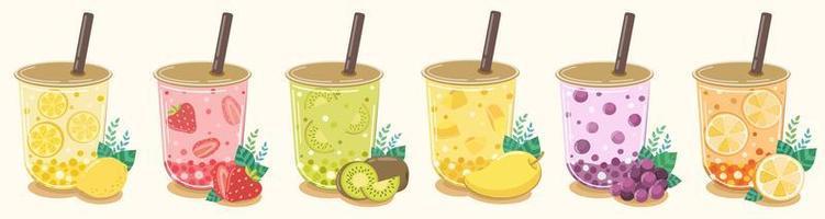 Fruit flavored fruit tea refreshing drink set vector