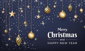 Christmas and New Year design with glitter, gold ornaments vector