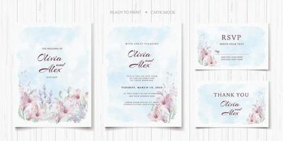 Floral Wedding Invitation Template Set vector