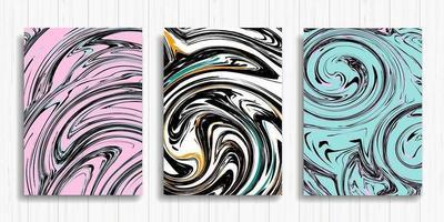 conjunto de tarjetas de diseño de tinta rosa líquida, blanca y azul