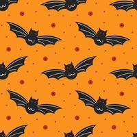 Black bats on orange Halloween seamless pattern