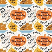 Thanksgiving pumpkin, oven glove, turkey seamless pattern