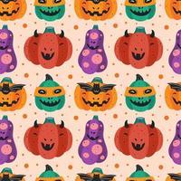 Spooky pumpkins in costumes Halloween seamless pattern vector