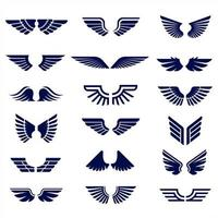 Deep blue wings collection vector
