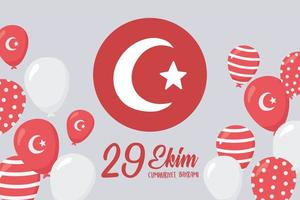 día de la república de turquía. bandera redonda y tarjeta de globos vector