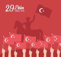Turkey republic day. Military riding horse and hands vector