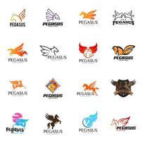 conjunto de logotipo pegasus vetor