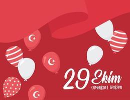 día de la república de turquía. bandera ondeando con globos decoracion vector