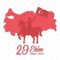 día de la república de turquía. soldado silueta roja a caballo vector