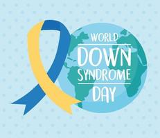 World down syndrome day. Planet and awareness ribbon